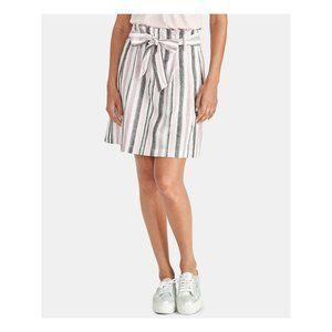 3/$30 Rachel Roy Pleated Stripe Linen Skirt Pink 0